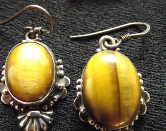 Vintage Art Deco Style Tiger Eye & Sterling Silver Earrings