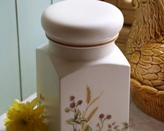 Vintage pottery kitchen container, Harvest pattern, by Marks and Spencer, c1982; pottery canister; kitchen canister; ceramic container