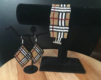 Plaid print diamond shaped beaded earrings and matching bracelet