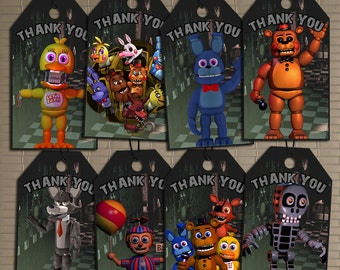 Five Nights At Freddy's Thank You Labels, Instant Download Thank You Tags, FNAF Birthday, Five Nights At Freddy's Birthday Thank You Tags