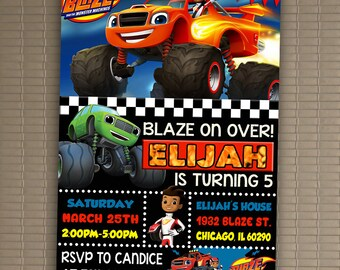 Blaze And The Monster Machines Invitation, You Print Invitation, Blaze And The Monster Machines Birthday, Blaze Invite 5x7 Or 4x6