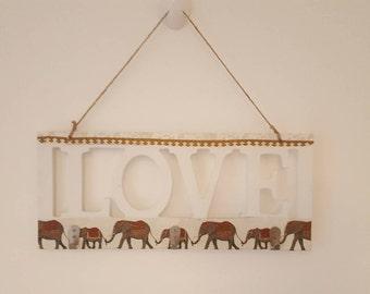 Decoupage Elephant Design Three Hook Hanger