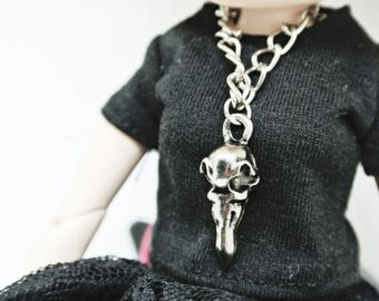 Blythe Accessory , Crow skull Necklace , Raven Skull Necklace