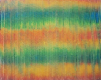 Striped Orange, Yellow, Blue Hand Dyed Fabric FQ