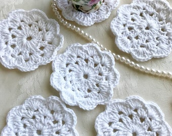 6 White Crochet Flower Coasters, White Crochet Coasters, White Coasters