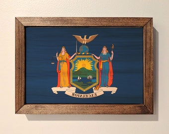 New York State Flag Wooden Sign