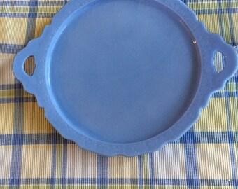 "Vintage 1930's Jeanette Glass Cherry Blossom Blue Delphite 10"" Sandwich Platter"