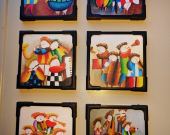 6 Brand New Laminated Coasters - Colorful Designs, Handcrafted