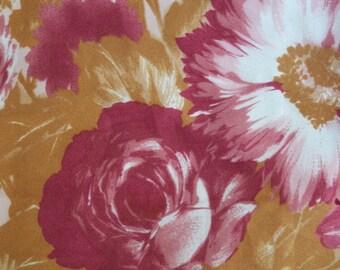 Vintage Leonardi women scarf red Bordeaux flowers floral