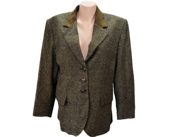 Vintage STRENESSE Group 100% WOOL women blazer jacket size USA 12 collar genuine leather brown salt and pepper