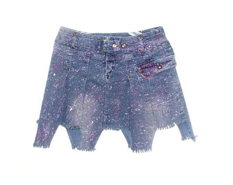 Handmade hand painting skirt jeans colorful blue