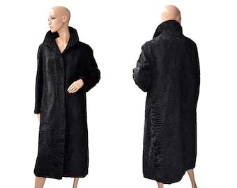 Vintage Swakara women long coat fur black Persian Lamb buttons Dasco Astragan Astrakhan