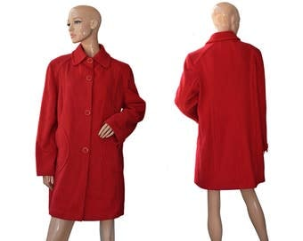 Vintage women coat red wool and cashmere