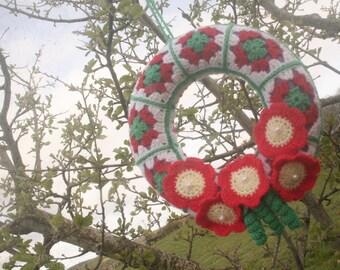 Granny Square Crochet Wreath - Handmade in the Highlands of Scotland