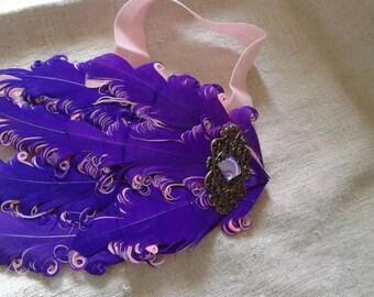 headband purple and pink feathers