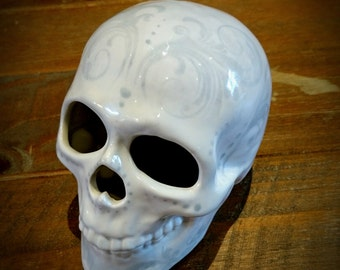 Hand Painted Ceramic, Skull Ornament, White with Grey, Glazed skulls, Home decoration, unique gothic gift, weird and wonderful, floral piece
