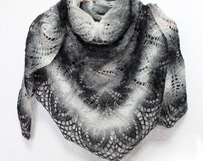 Knitted scarf shawl,knit shawl,wraps shawls,black-white shawl, knitted scarf, shawl of wool, knit scarf-shawl, delicate shawl, crochet shawl