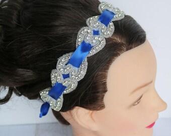 Satin and Rhinestone headband, Rhinestone Headband, Wedding Headband, Crystal Headband, Wedding Headpiece, royal blue headband