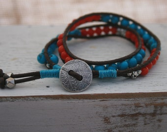 Double Wrap Ladder Bracelet with 4MM Turquoise and Coral Beads and Silver Button Closure