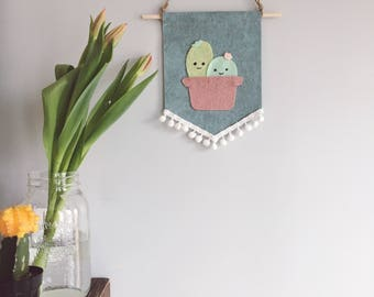 I'll never desert you felt banner | cactus banner | cacti banner | felt banner | wallhanging | nursery banner
