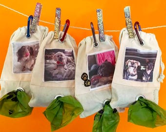 Custom Photo dog waste carrier or dog treat bag