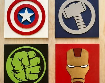 Superhero, large wall art, Hulk, Ironman, Captain America, Thor, Batman, Superman, Flash