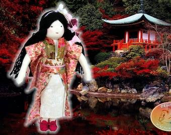 "FREE SHIPPING!!! Waldorf, Steiner Geisha Japanese doll, 12"", 30.5cm, hand made"
