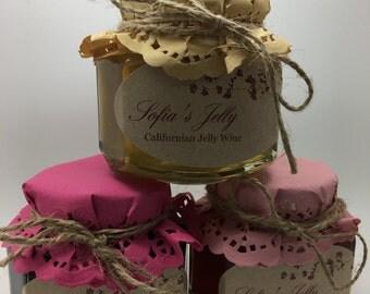 Wine jelly Trio - California Chardonnay, Merlot, Zinfandel rosé (3x net wt 3.75 oz)