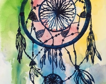 "Dreamcatcher an original watercolor painting on paper 11"" x 14"""