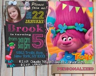 SALE 20 % Trolls Invitation, Trolls Birthday Invite, Trolls new DreamWorks, Personalized, Printable, Digital Invitation, Thank you card free