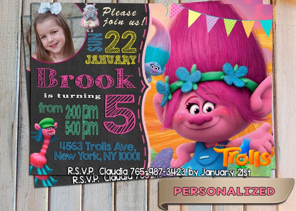 Sale Trolls Invitation Birthday Invite New