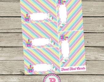 Unicorn Birthday Party Food Lables Food Tent Cards Signs Aqua Pink Rainbows Castle Fairy tale Magical Unicorns