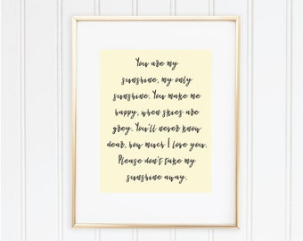You Are My Sunshine Print for Nursery - Digital Download