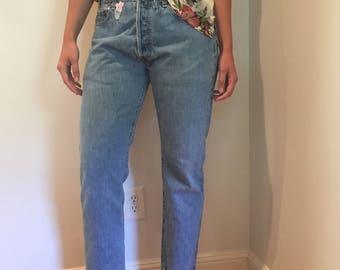 Vintage 501 Levis // 501 Levis Jeans with Flower Patch