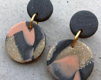 Bambino Earrings - Sunset Pewter / Stud Earrings / Drop Earrings / Abstract Earrings / Modern Earrings