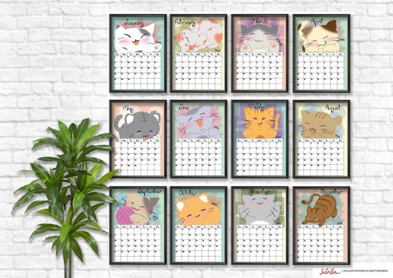 2017 Calendar Planner Cute Cats, Printable Calendar, Instant Download, Cat Frame, Kitty, Kitten, New Year Calendar, Digital Print Template
