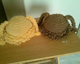 Cabbage patch style crochet hat