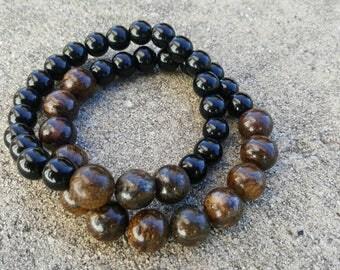 9 inch Stretch Bronzite and Black Onyx Bracelet