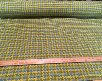 Vintage huge houndstooth cotton upholstery fabric in green, yellow, and aqua