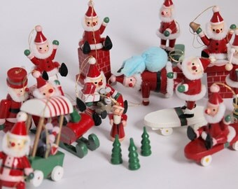 SALE - Set of 17 Vintage Wood Ornaments from the 1980's