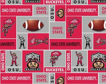 Ohio State Fleece, Ohio State Fabric, Buckeyes Fleece, Buckeyes Fabric, 2 Yards