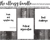 The allergy bundle. Food and symptoms journal and challenges tracker and planner. CMPA, FPIES, EOE, ibs, dairy, cmpi, coeliac disease.