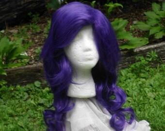 Rarity Wig, Purple wig, MLP, Cosplay, Long Curly Wig, Dark Purple, Violet, Grape, Blue, side swept Bangs, mlp, cosplay,