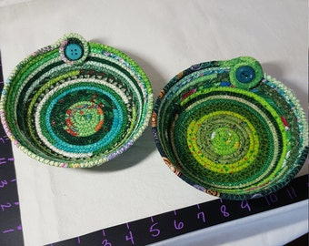 Fabric coil bowl- green verigated