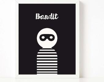 Bandit print, little bandit print, nursery printable wall art, Scandinavian print, nursery decor, kids playroom, kids poster
