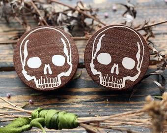 skull wood plugs - ear plugs - wooden plugs and gauges - skull gauges - human skull - skull jewelry - skull earrings - wooden gauges - gift