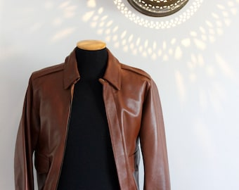 40s US army Air force flying brown leather jacket for men