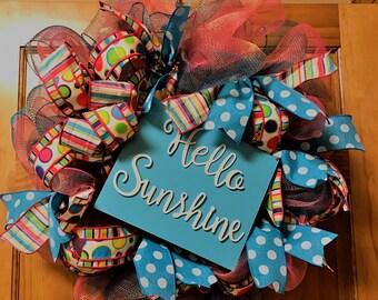 Hello Sunshine Beautiful Deco Poly Mesh Wreath
