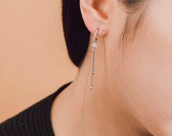 CZ Hoop earring, chain earring, double chain earring, unbalanced chain earring, unbalanced earring, Korean style, Korean jewelry
