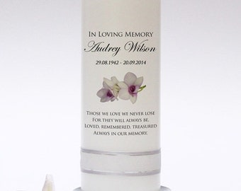 Personalised Memorial & Remembrance Candle Design 3. Fully customised. Handmade in UK.